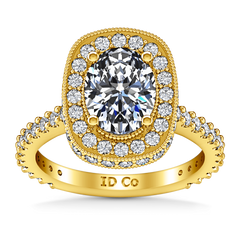 Halo Diamond Oval Engagement Ring Camille 14K Yellow Gold engagement rings imaginediamonds