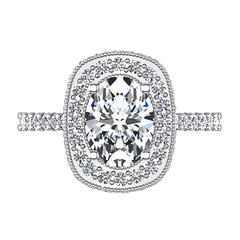 Halo Oval Diamond Engagement Ring Camille 14K White Gold engagement rings imaginediamonds