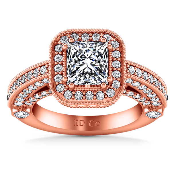 Halo Diamond Cushion Cut Engagement Ring Leilani 14K Rose Gold