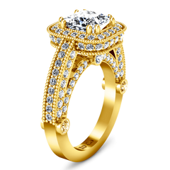 Halo Diamond Cushion Cut Engagement Ring Leilani 14K Yellow Gold engagement rings imaginediamonds