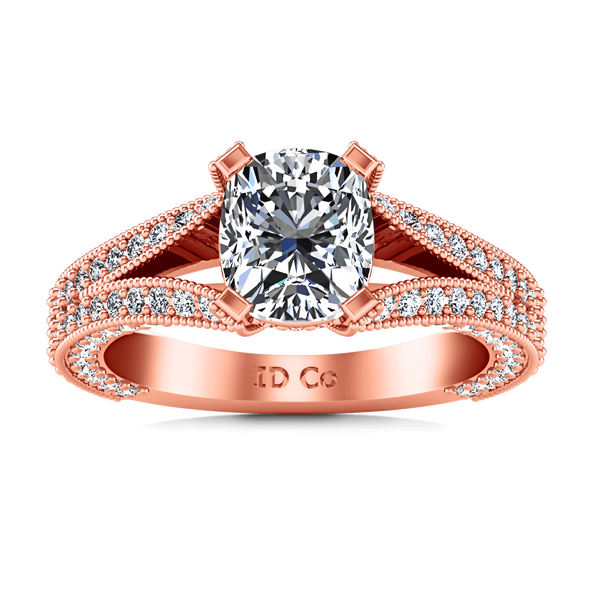 Pave Diamond Cushion Cut Engagement Ring Zahra 14K Rose Gold