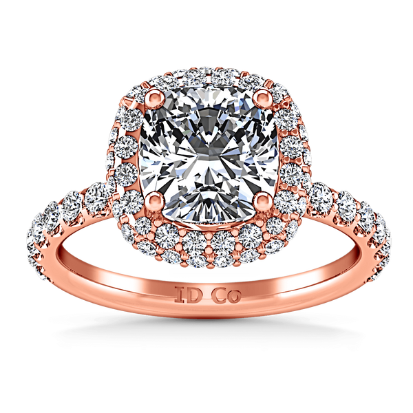 Halo Diamond Cushion Cut Engagement Ring Kristine 14K Rose Gold