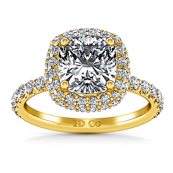 Halo Diamond Cushion Cut Engagement Ring Kristine 14K Yellow Gold