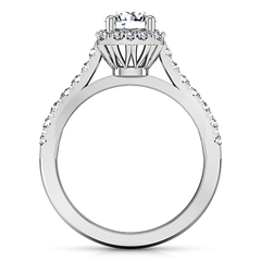 Round Diamond Halo Engagement Ring Mallory 14K White Gold