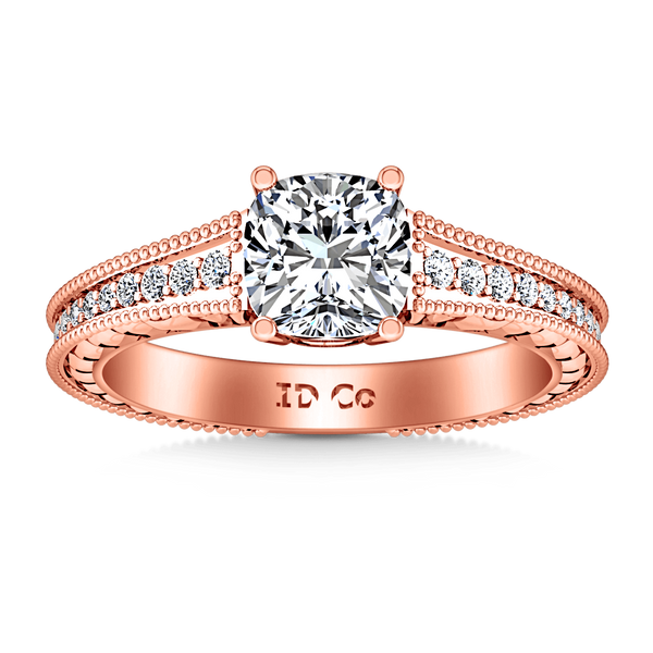 Pave Diamond Cushion Cut Engagement Ring Primrose 14K Rose Gold