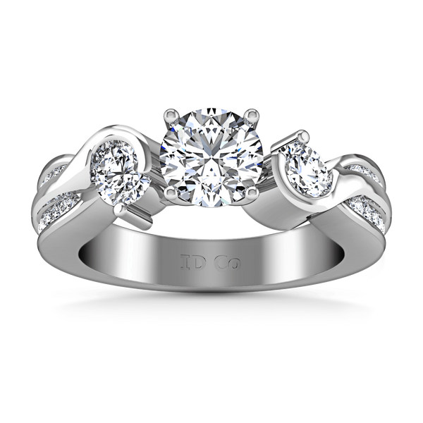 Round Diamond Three Stone Engagement Ring Cosette 14K White Gold
