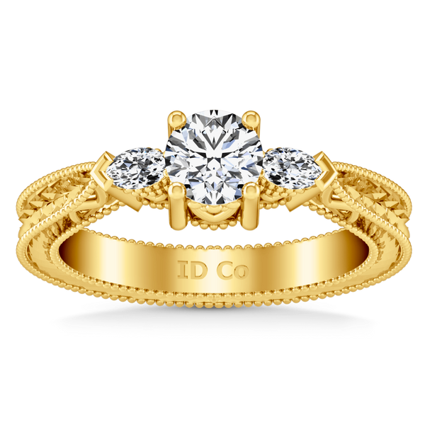 Three Stone Diamond Engagement Ring Haven 14K Yellow Gold
