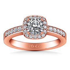 Halo Diamond Engagement Ring Eve 14K Rose Gold engagement rings imaginediamonds