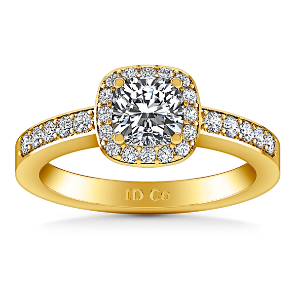 Halo Diamond Engagement Ring Eve 14K Yellow Gold