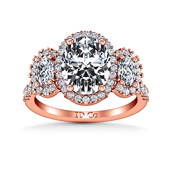 Halo Diamond Engagement Ring Summer 14K Rose Gold