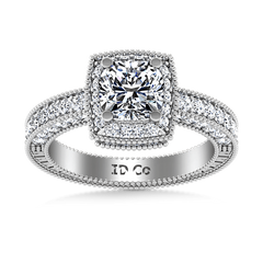 Round Diamond Halo Engagement Ring Danica 14K White Gold engagement rings imaginediamonds