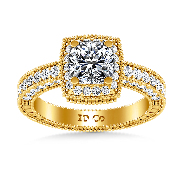 Halo Diamond  Engagement Ring Danica 14K Yellow Gold