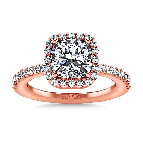 Halo Diamond Cushion Cut Engagement Ring Claire 14K Rose Gold