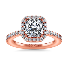 Halo Diamond Cushion Cut Engagement Ring Claire 14K Rose Gold engagement rings imaginediamonds