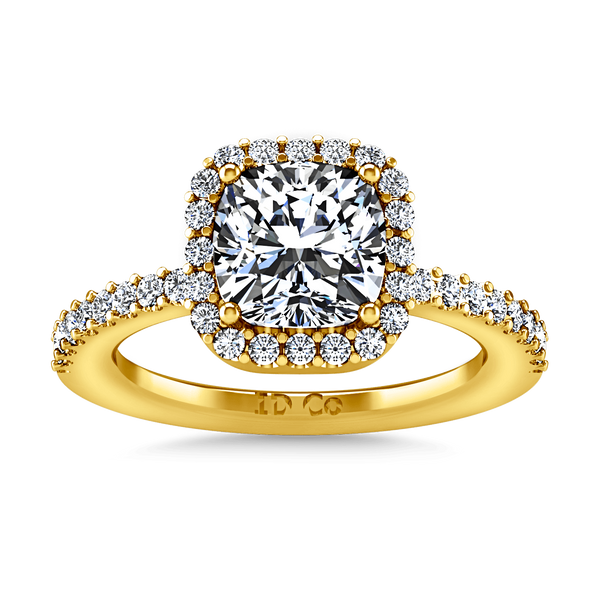 Halo Diamond Cushion Cut Engagement Ring Claire 14K Yellow Gold
