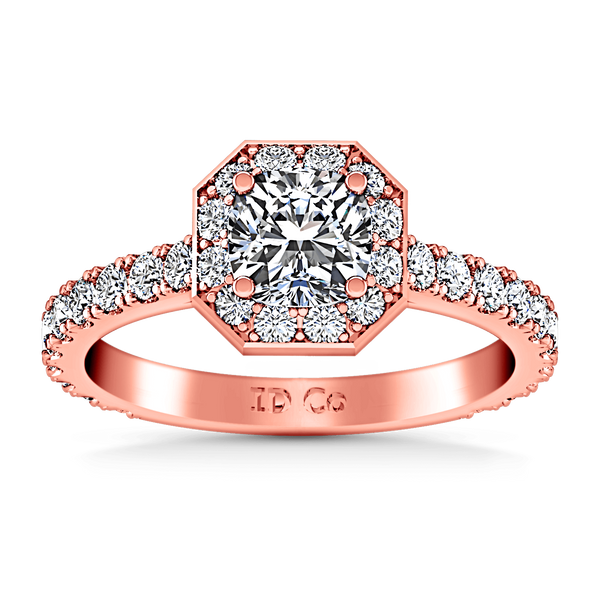 Halo Diamond Engagement Ring Irina 14K Rose Gold