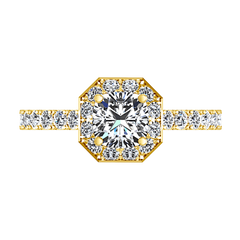 Halo Diamond Engagement Ring Irina 14K Yellow Gold