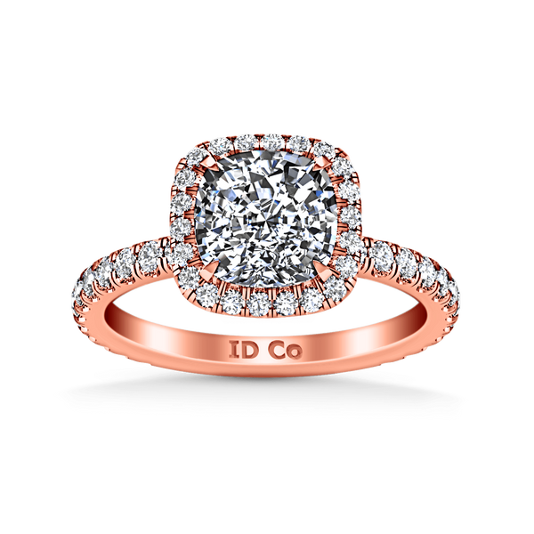 Halo Diamond Cushion Cut Engagement Ring Salice 14K Rose Gold