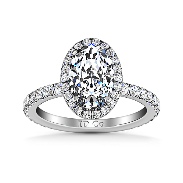 Halo Oval Diamond Engagement Ring Elsa 14K White Gold