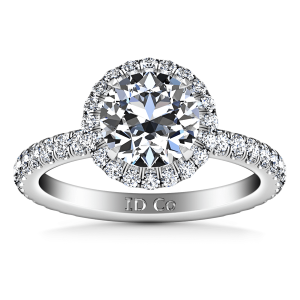 Round Diamond Halo  Engagement Ring Clayton 14K White Gold