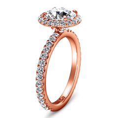 Halo Diamond Engagement Ring Clayton 14K Rose Gold engagement rings imaginediamonds