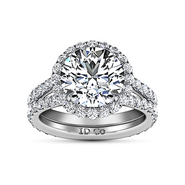Round Diamond Halo  Engagement Ring Emotion 14K White Gold