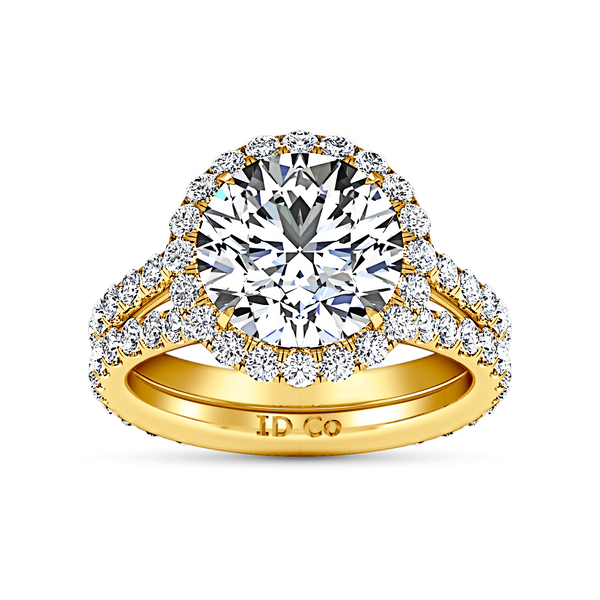 Halo Diamond  Engagement Ring Emotion 14K Yellow Gold