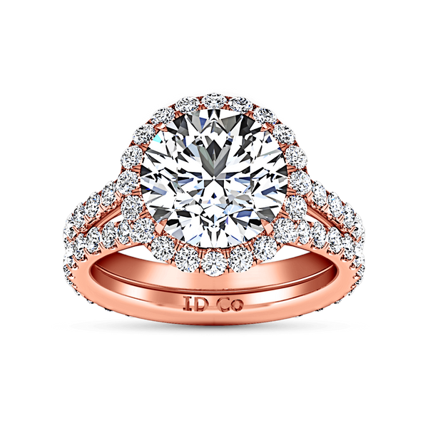 Halo Diamond  Engagement Ring Emotion 14K Rose Gold