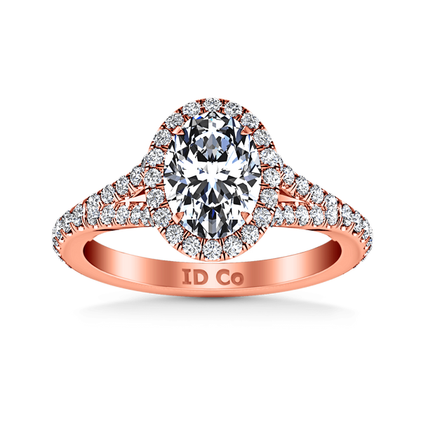 Halo Diamond Oval Engagement Ring Melody 14K Rose Gold
