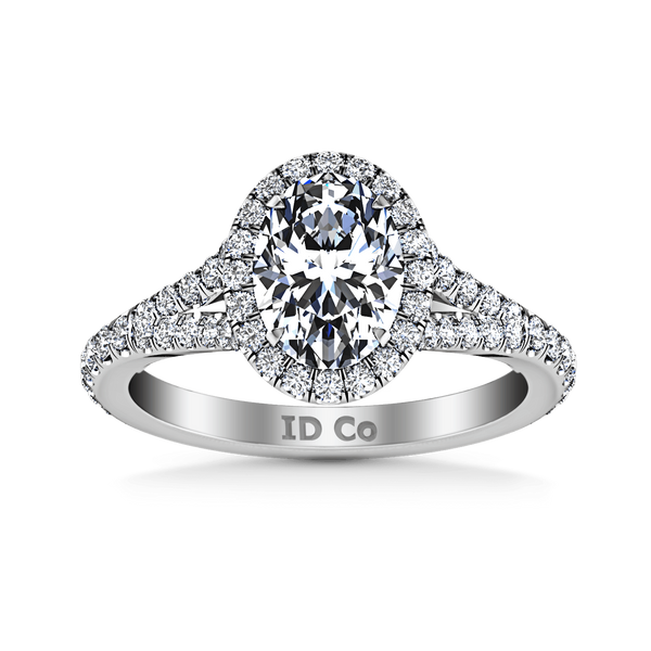 Halo Oval Diamond Engagement Ring Melody 14K White Gold