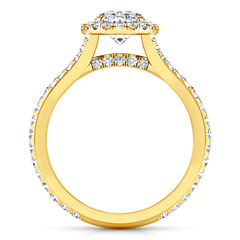 Halo Diamond Oval Engagement Ring Melody 14K Yellow Gold