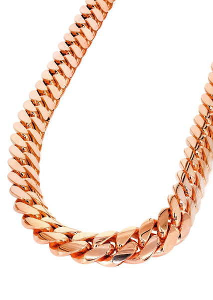 14K Rose Gold Chain - Solid Miami Cuban Link Chain 14K Rose Gold