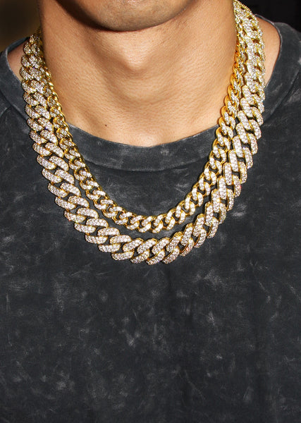 Gold Plated Iced Out Miami Cuban Link Choker