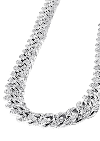 White Gold Iced Out Women Diamond Miami Cuban Link Chain Customizable (10MM-20MM)