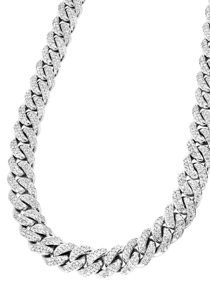 White Iced Out Women Diamond Miami Cuban Link Chain 14K Gold (5MM-8MM)