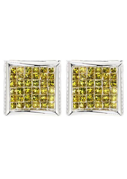 Diamond Earrings For Men | 2.39 Carats 14K White Gold