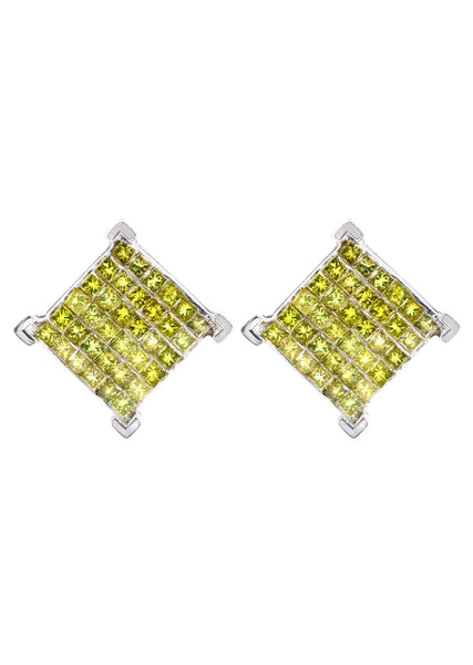 Diamond Earrings For Men | 1.85 Carats 14K White Gold