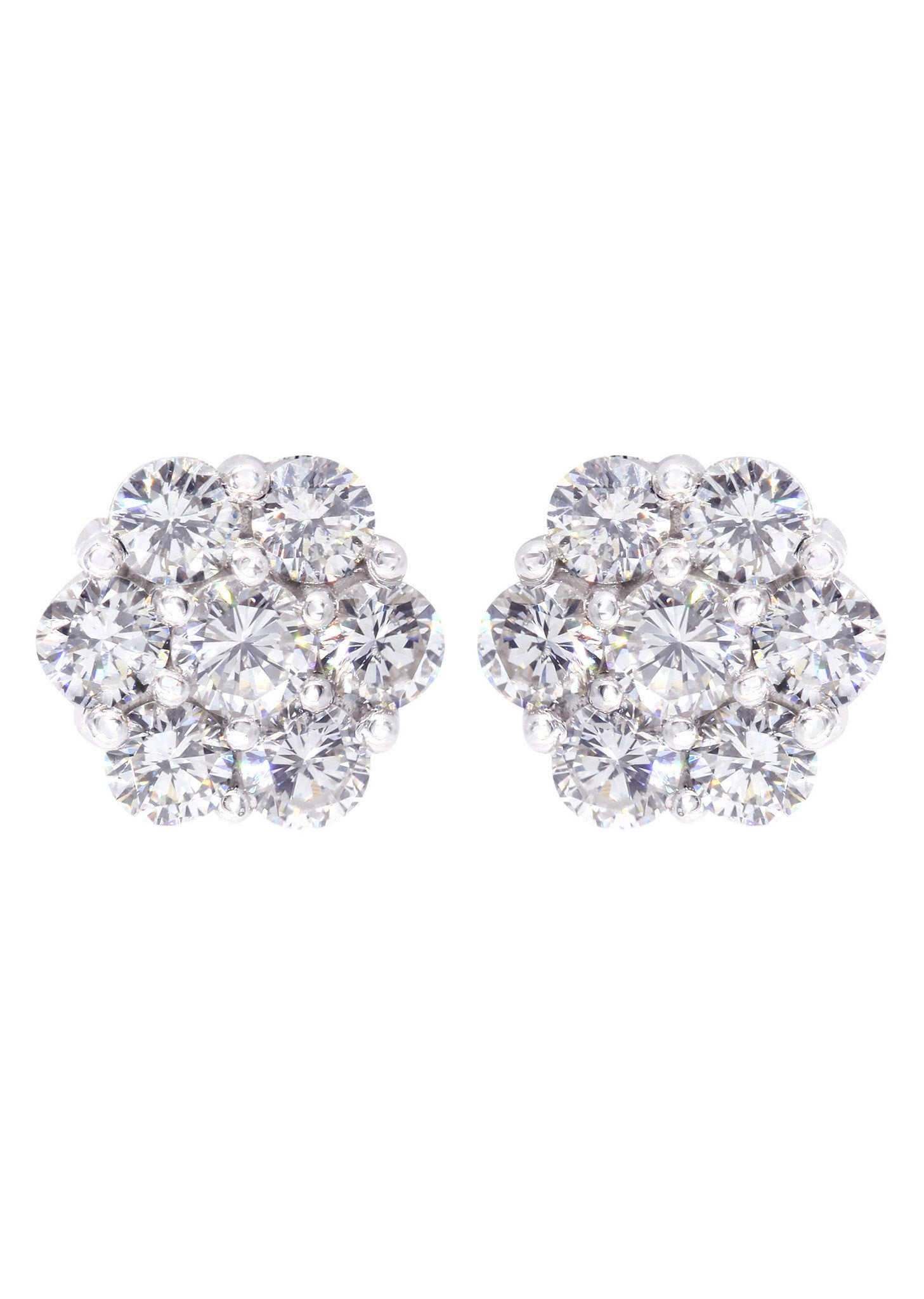 Stud Diamond Earrings For Men Illusion Set 14k White