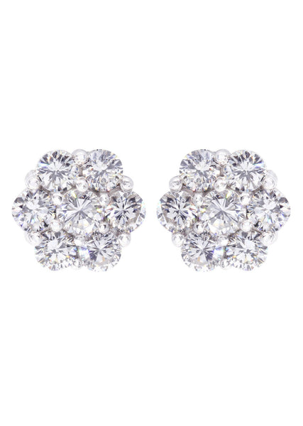 Stud Diamond Earrings For Men Illusion Set | 14K White Gold | 0.89 Carats