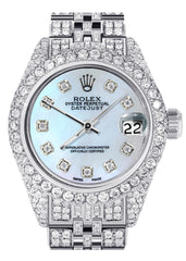 Womens Diamond Stainless Steel Rolex Watch | 26Mm | Light Blue Mother Of Pearl Dial | Jubilee Band