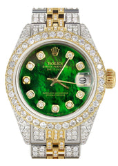 Womens Diamond Gold Rolex Watch | 26Mm | Green Mother Of Pearl Dial | Jubilee Band
