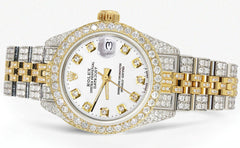 Womens Diamond Gold Rolex Watch | 26Mm | White Dial | Jubilee Band