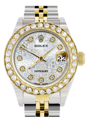 Womens Diamond Gold Rolex Watch | 1 Carat Bezel | 26Mm | Texture Diamond Dial | Jubilee Band