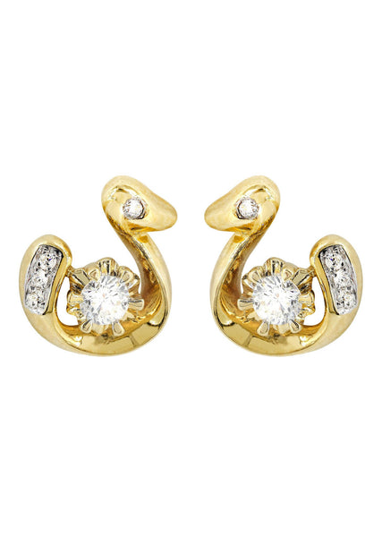 Swan Diamond Stud Earrings For Men | 14K Yellow Gold | 0.3 Carats