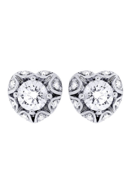 Heart Diamond Stud Earrings For Men | 14K White Gold | 1.18 Carats