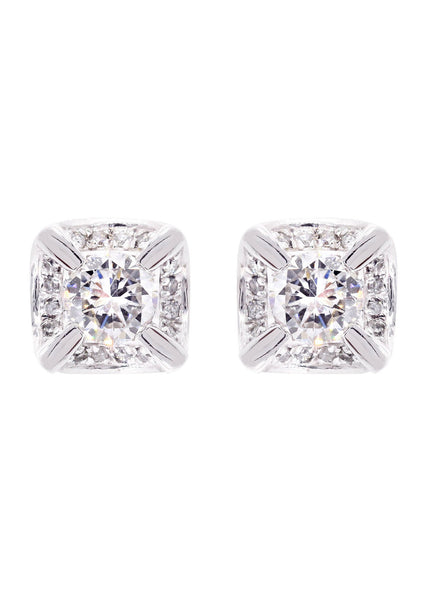 Diamond Stud Earrings For Men | 14K White Gold | 0.62 Carats