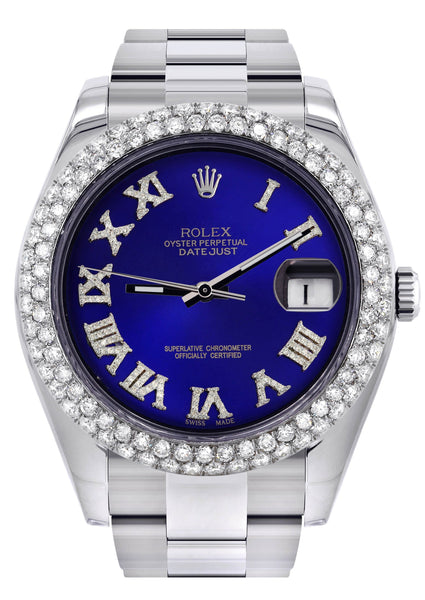 Rolex Datejust II Watch | 41 MM | Royal Blue Roman Numeral Dial | Two Row | Oyster Band