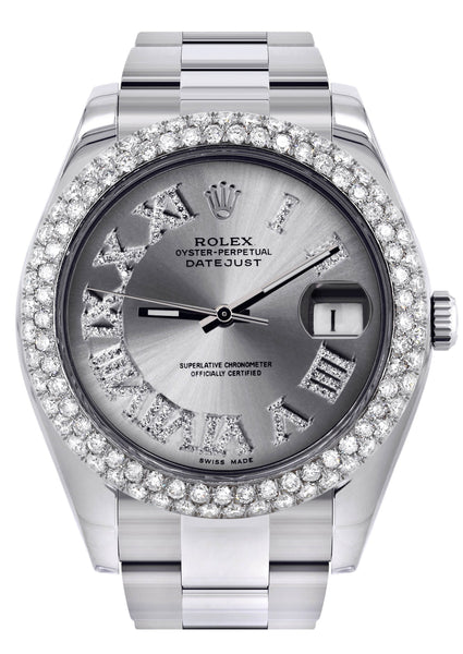 Rolex Datejust II Watch | 41 MM | Silver Roman Numeral Dial | Two Row | Oyster Band