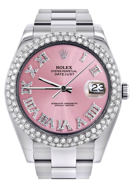 Rolex Datejust II Watch | 41 MM | Pink Roman Numeral Dial | Two Row | Oyster Band