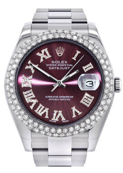Rolex Datejust II Watch | 41 MM | Purple Roman Numeral Dial | Two Row | Oyster Band